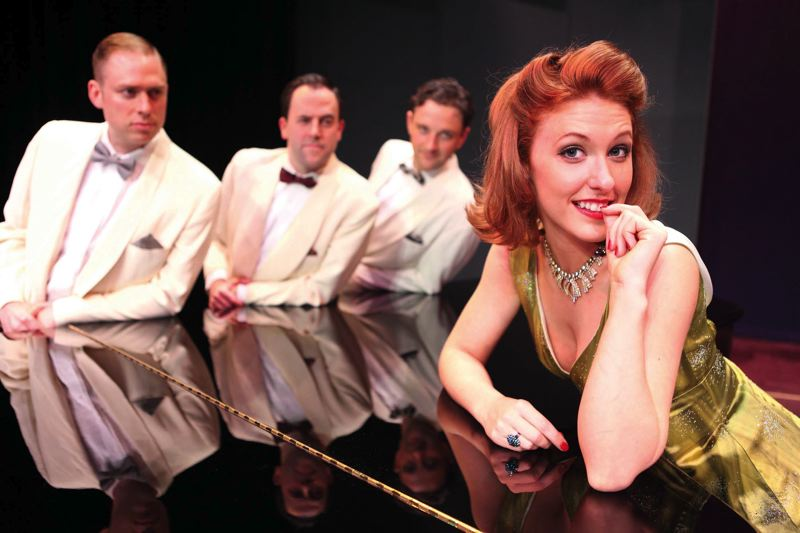 by: COURTESY OF TRAVIS NODURFT/CRC - Main character Hillarie Putnam, who actually lives in Alaska, and three handsome co-starring men - (from left) Dennis Kelly, Jayson Shanafelt, Tom Walton - lead the production of 'The Philadelphia Story' by Clackamas Repertory Theatre, one of Portland's finest suburban theater companies.