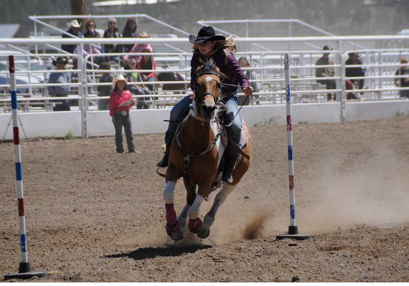 by: LON AUSTIN/CENTRAL OREGONIAN - Colton High School's Makayla Johnson finished fourth in the average and sixth overall in pole bending at the Oregon High School Rodeo Associations championships in Prineville two weeks ago.