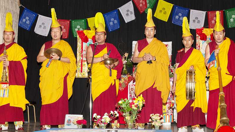 by: SUBMITTED - Interfaith ­connection - Tibetan Monks from the Gaden Shartse Monastery in India perform a Buddhist ceremony. A group from the monastery will give a talk on karma and perform a healing ceremony at 7 p.m. July 7 at Newberg First United Methodist Church.