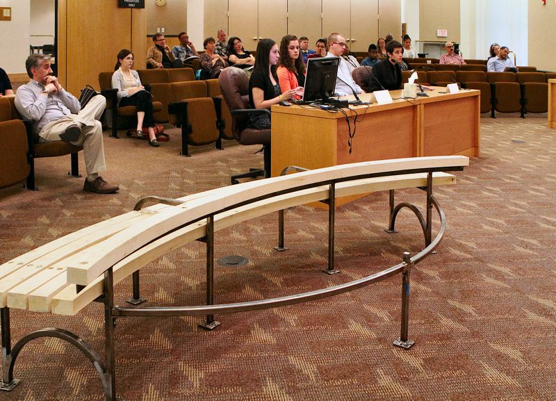 by: DAVID F. ASHTON - Seated before the Multnomah County Board of Commissioners, the ACE Academy graduating seniors described the process they used to design and construct the prototype bench.