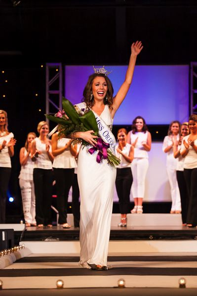by: PHOTO COURTESY: BEN WOOD - Miss Oregon 2014 Rebecca Anderson waves to the crowd in Seaside shortly after she is crowned.