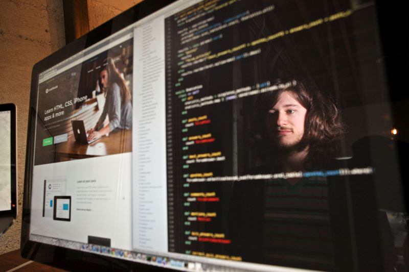 by: TRIBUNE PHOTO: JAIME VALDEZ - Milo Winningham, a software developer for Treehouse, has been doing computer programming since he was six years old.