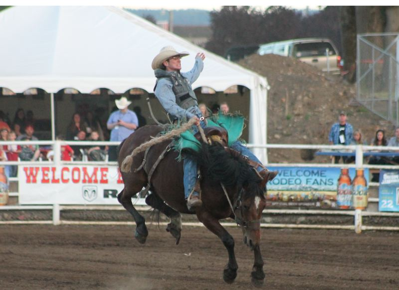 by: JIM BESEDA/MOLALLA PIONEER - Doug Aldridge of Carthage, Mo., scored a 76-point ride aboard Big Bend Rodeo's No. 28 during Thursday's second of five performances at the 91st Molalla Buckeroo PRCA Rodeo.