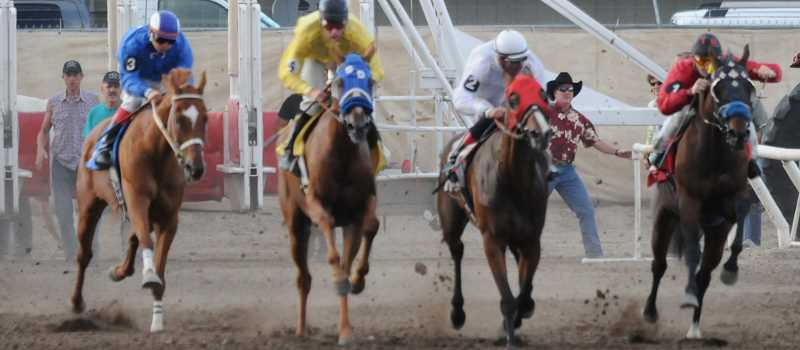 by: CENTRAL OREGONIAN FILE PHOTO - Horses come out of the gate during the 2013 Crooked River Roundup Race Meet. This year's races start Wednesday at 7 p.m. with ladies night.