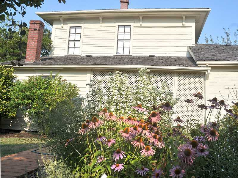 by: GARY ALLEN - History of constructed wood - The Hoover-Minthorn House Museum, and its famous herb garden, is among the nine Newberg homes on an August tour sponsored by the Yamhill Enrichment Society.