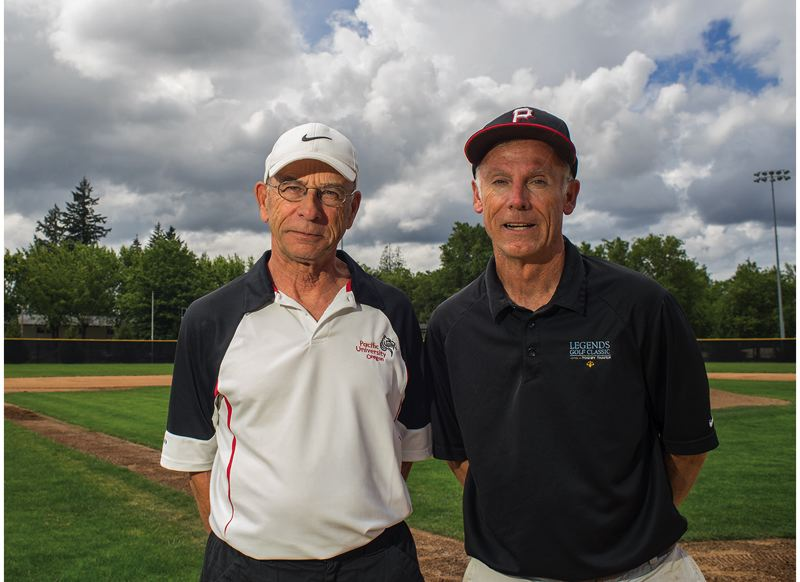 by: HILLSBORO TRIBUNE PHOTO: CHASE ALLGOOD - Pacific University softball coach Tim Hill (right) and baseball coach Greg Bradley are both retiring this year. Bradley coached the Boxers for 19 seasons and Hill coached for 12.