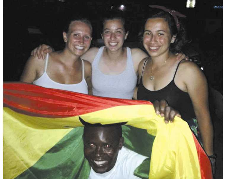 by: SUBMITTED PHOTO - Abby Farrell (left) is learning a lot and having a great time in Ghana.