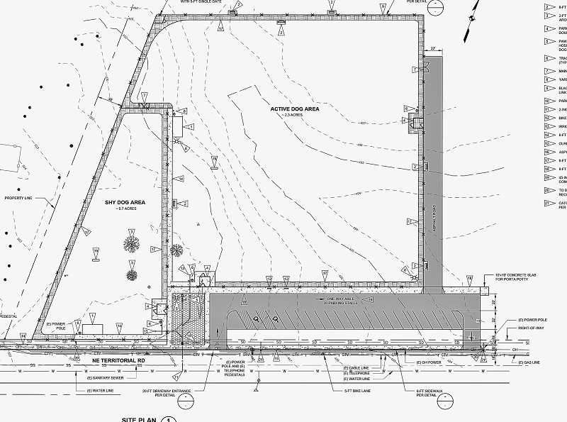This engineering drawing shows the layout of the off-leash dog park to be built.