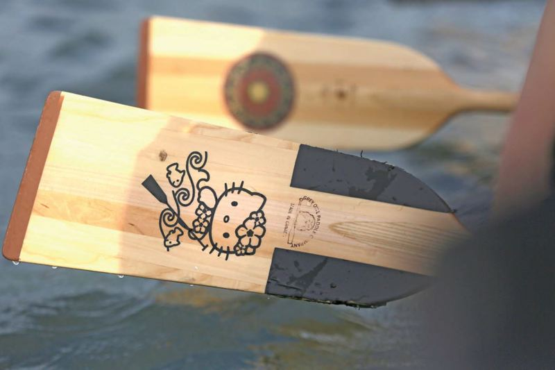 by: TRIBUNE PHOTO: JONATHAN HOUSE - Some dragon boat paddles are a little more ornate than others.