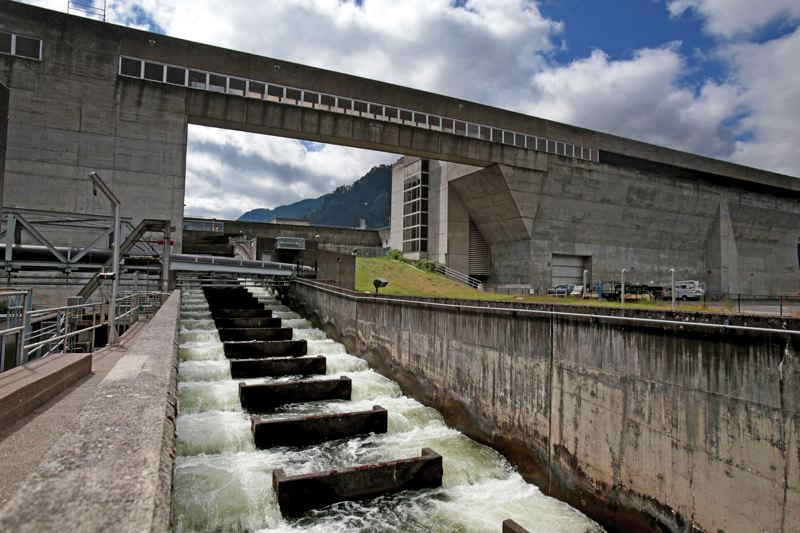 by: PAMPLIN MEDIA GROUP: JONATHAN HOUSE - The sharp angles and fast-moving water at traditional fish ladders such as this one at Bonneville Dam work for salmon but not for lamprey.