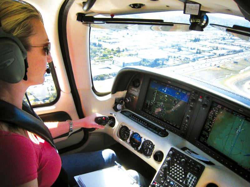 by: CONTRIBUTED PHOTO - Mari Nado is working as an air traffic controller in San Francisco, but is also known to rent a single-engine aircraft for pleasure trips along the West Coast.