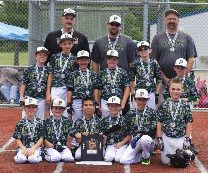 by: SUBMITTED - The youngsters on Doug ODells Putnam 9-10 baseball team did themselves proud at the recent Clackamas County Junior Baseball Midget National Championship Tournament, earning runner-up honors. Pictured are the players and coaches on the standout team: (first row, left to right) Noah Perkins, Michael ODell, Braedon Nall, Riley Fritz, Mason Williams and Owen Lundgren; (second row) Braedon Akers, Miles Williams, Konner Bickford, Mason Eads, Walker ODell and Parker Read; and (back) coach Mike Read, coach David Eads and head coach Doug ODell.