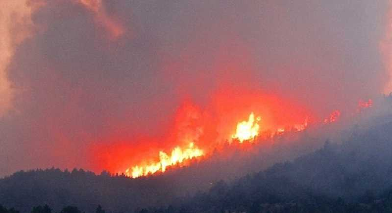 by: PHOTO COURTESY OF KIM WOODWARD - Photo taken of Bailey Butte Fire of the Waterman Complex on Monday evening last week.
