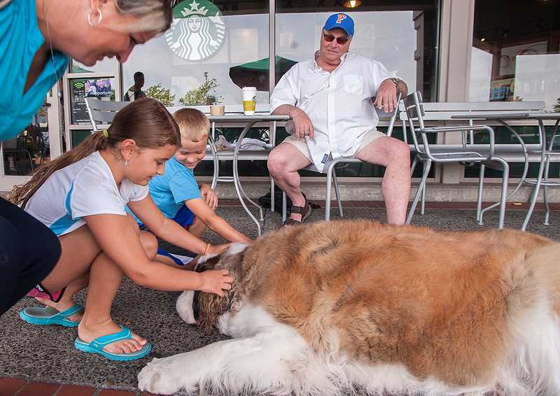 by: SPOKESMAN PHOTO: JOSH KULLA - Sydney and Colby Kosderka of Wilsonville wish Jasper the St. Bernard a happy fourth birthday at Starbucks Monday, July 21.