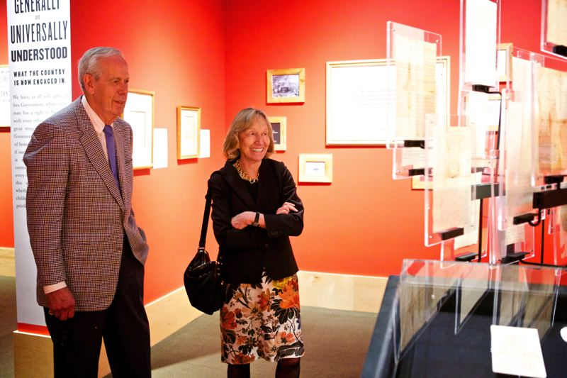 by: TRIBUNE PHOTO: JAIME VALDEZ - Historian and author Doris Kearns Goodwin toured the Oregon Historical Society's Lincoln collection with Portland developer Melvin 'Pete' Mark Monday afternoon. It was Mark who collected the items from Lincoln's presidency and hosted the OHS exhibit.