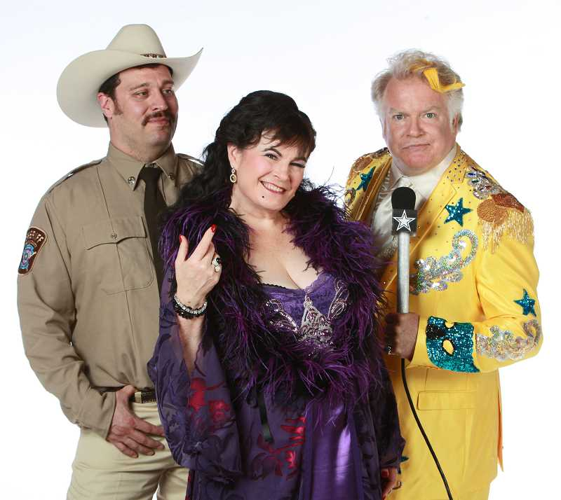 by: SUBMITTED PHOTO: CRAIG MITCHELLDYER - From left are Colin Wood as Sheriff Ed Earl Dodd, Sharon Maroney as Miss Mona Stangley and Dan Murphy as Melvin P. Thorpe in Broadway Roses production of The Best Little Whorehouse in Texas opening Aug. 1.