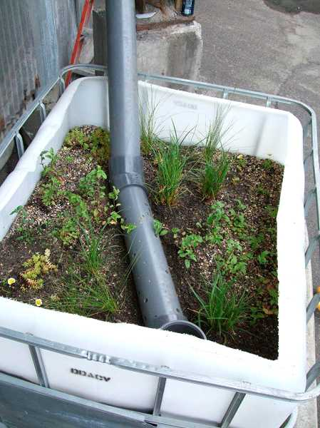 Photo Credit: CONTRIBUTED PHOTO  - Biochar totes come ready to be placed near business stormdrains.