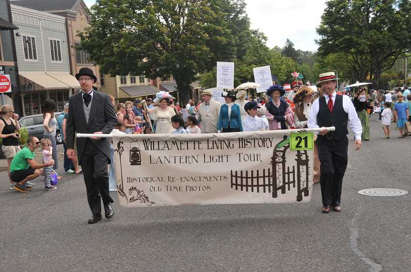 The Willamette Living History group was decked in its historic finest for the parade.