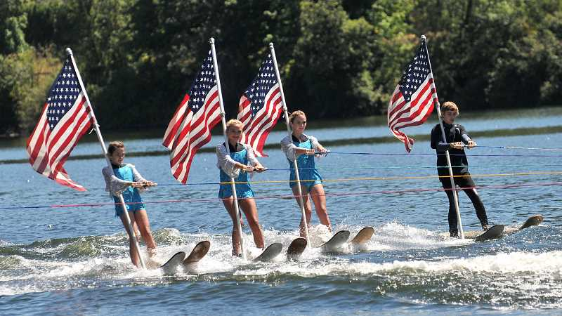 The waterskiing show on the Willamette was a popular draw at the fair.