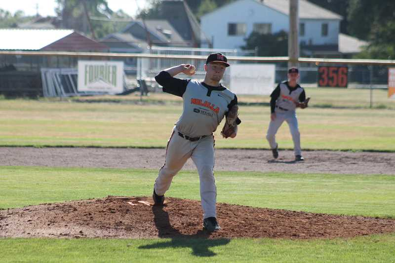 by: JIM BESEDA/MOLALLA PIONEER - Josey Swain tossed five shutout innings in last week's 3-2 summer league victory over Franklin in the opening game of a double-header at Al Geddes Field.