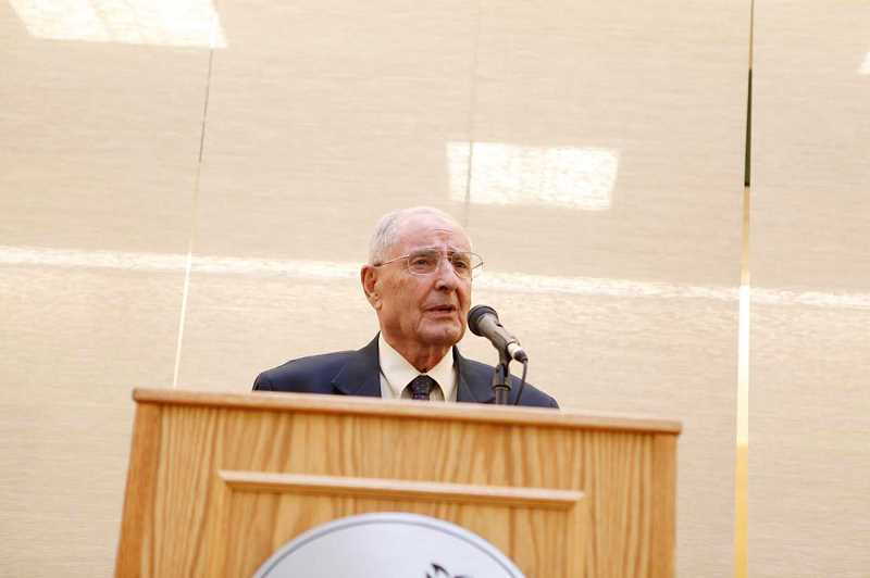 by: COURTESY PHOTO: PACIFIC UNIVERSITY - Former Gov. Vic Atiyeh spoke last October at Pacific University, during an event honoring him and celebrating the opening of The Victor Atiyeh Collection.