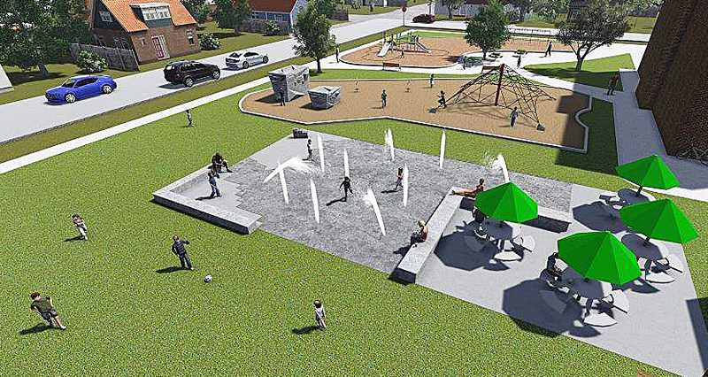 by: SUBMITTED - Under construction - In an artist's rendering of the splash pad, tables and chairs will take the place of the umbrella covered tables shown in the rendering. The concrete benches on the edge of the park will not be installed.