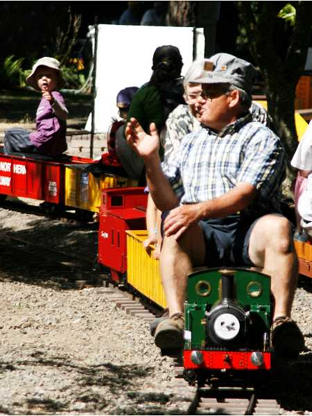 by: PHIL HAWKINS - Miniature train rides are available during the event courtesy of volunteer train conductors.