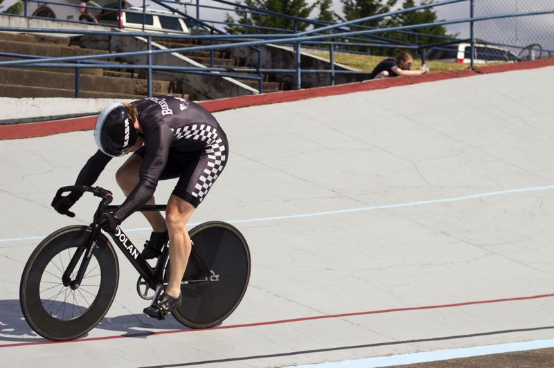 by: TIMES PHOTO: LACEY JACOBY - Stephen McLaughry, part of the Bike Central team, competes at the Alpenrose Velodrome Challenge.