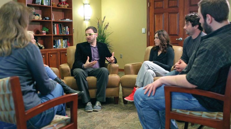 by: COURTESY OF DAVE UNITAN - Traditional group therapy isn't working well for gay addicts, according to a study co-authored by Buster Ross of the Hazelden Springbrook treatment center in Newberg, center in glasses. The study found sexual minorities on average have more failed addiction therapies than other inpatient patients.