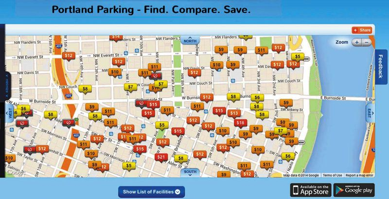 by: COURTESY OF BESTPARKING.COM - A screenshot shows the bestparking.com selection of garages and parking lots in Portland. The app helps drivers find the best parking prices in the city. Many local garages do not post their prices where drivers can see them before turning in to park.