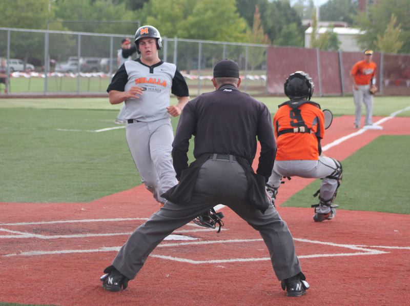 by: JIM BESEDA/MOLALLA PIONEER - Molalla's Keaton Franco scores on Daniel Stoddard's two-run triple in the fourth inning Thursday to give the Indians a 3-1 lead against Dallas.