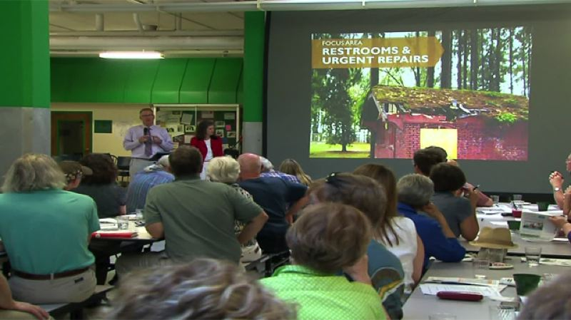 by: KOIN 6 NEWS - Commissioner Amanda Fritz addresses questions about the parks levy during a town hall meeting on June 30.