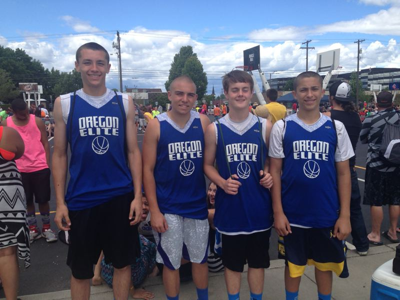 by: SUBMITTED PHOTO - From left to right: Harrison Steiger, Koby McCallum, Kyle Willett and Derek Irby. The Oregon Elite squad earned a second-place finish at Hoopfest.