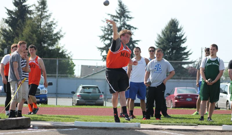 by: JIM BESEDA/MOLALLA PIONEER - Molalla's Mont Child, pictured here competing at a Tri-Valley Conference meet in May, threw the shot put 44 feet, 7 inches during Thursday's USATF National Junior Olympic Championships in Humble, Texas.