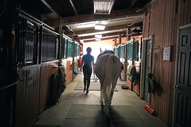 by: TIMES PHOTO: JONATHAN HOUSE - Lindsey Parker walks her horse, Questt, back to the stables after dressage practice.