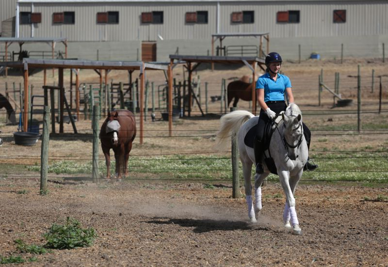 by: TIMES PHOTO: JONATHAN HOUSE - Lindsey Parker practices dressage technique with her horse Questt at Parker Stables.