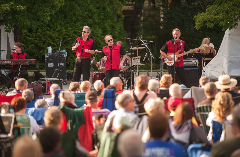 by: SPOKESMAN PHOTO: JOSH KULLA - Johnny Limbo and the Lugnuts performed July 24 at Wilsonville's Town Center Park, the 10th year running the band has performed as part of the Wilsonville Rotary Summer Concert Series.