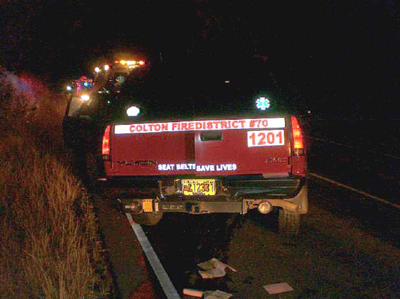 by: OSP - Colton Fire Department vehicle involved in Thursday night collision.