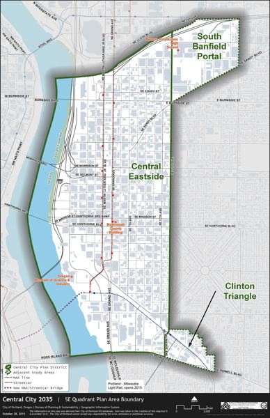 by: CITY OF PORTLAND - A map of Portland's Southeast Quadrant.