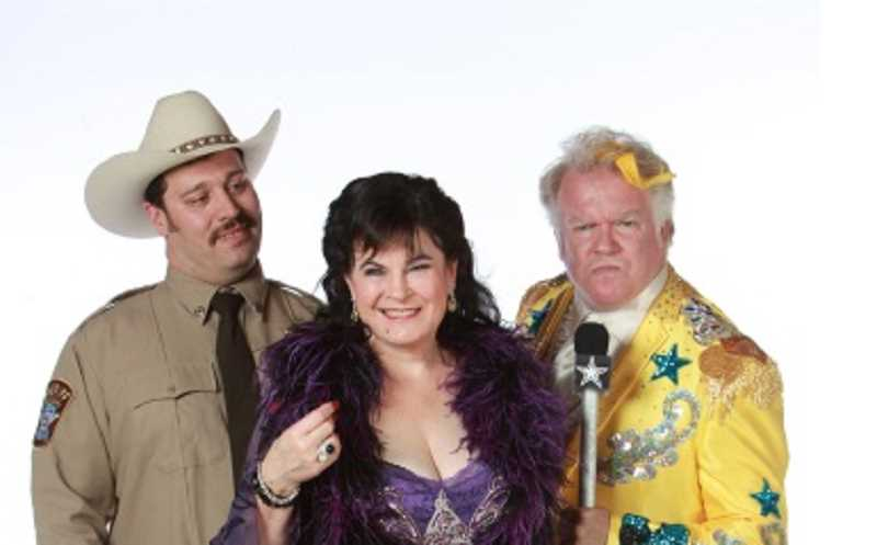 by: CRAIG MITCHELLDYER - TEXAS NEVER LOOKED SO GAUDY - Dan Murphy (in yellow) plays do-gooder Melvin P. Thorpe, and Sharon Maroney plays Miss Mona Stangley, while Colin Wood plays Sheriff Ed Earl Dodd in 'Best Little Whorehouse in Texas.'