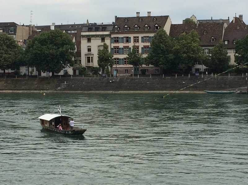 The 160-year-old ferry in Basel, Switzerland makes its way across the Rhine River. Riding the ferry, Bruce and Beth Carpenter struck up a conversation about ferries, including their own Canby Ferry.