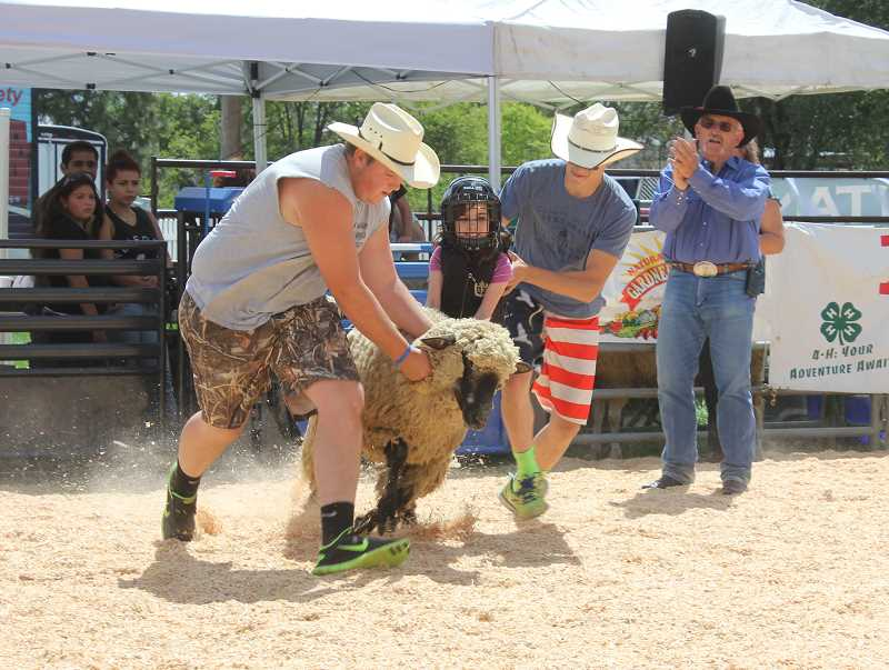 by: SUSAN MATHENY/MADRAS PIONEER - Two wranglers help a young girl dismount safely during a Wool Busters ride.