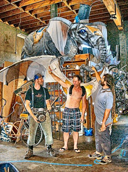 by: RITA A. LEONARD - Three of the four partners at ManifeStation PDX art collective, from left: Richard Cawley, Gustav Sculptor, and J. B. Noll.