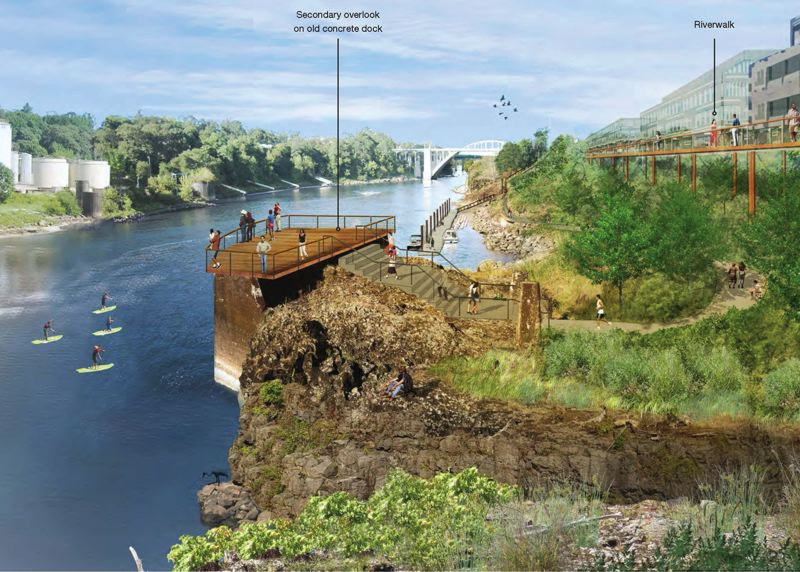Photo Credit: COURTESY WALKER MACY - An artists rendering of the proposed Riverwalk along the former Blue Heron paper mill and overlooking Willamette Falls. Planners believe the approximately $30 million project is a necessary first step in redeveloping the area into a world-class destination.