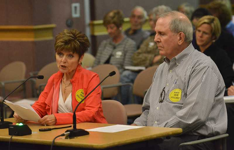 Photo Credit: REVIEW PHOTO: VERN UYETAKE - Nancy Shebel and Patrick Haar voice their opposition to plans for the Wizer Block during the DRCs July 23 session.