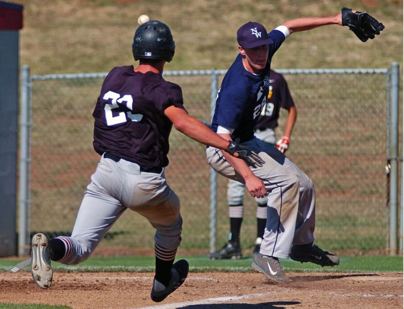 Photo Credit: DAN BROOD - ON THE RUN -- Sherwood's Adley Rutschman (left) breaks to home plate, scoring on a wild pitch in Saturday's OIBA championship agme. The Bowmen beat Lake Oswego 5-4.