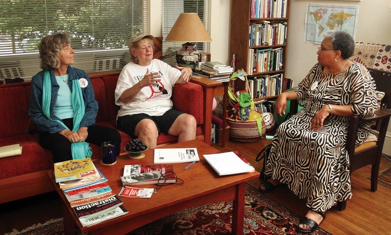 Photo Credit: JIM CLARK - From left: Annie Popkin, Karen Haberman Trusty and Joyce Braden Harris get together to talk about Freedom Summer. Popkin and Haberman Trusty were among the hundreds of young people who took part in the 1964 campaign; all three attended the 50th anniversary conference in Jackson, Miss., in June.