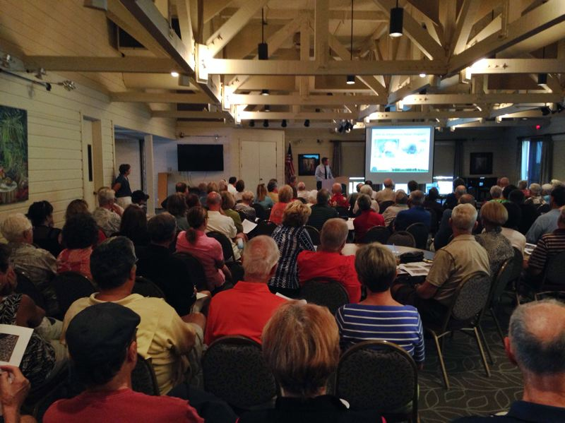 Photo Credit: SPOKESMAN PHOTO: JOSH KULLA - Charbonneau residents packed the Charbonneau Country Club for a July 30 public meeting outlining the proposed repairs to the district's infrastructure. The Wilsonville City Council will take up the issue tonight at a 7 p.m. meeting at city hall.