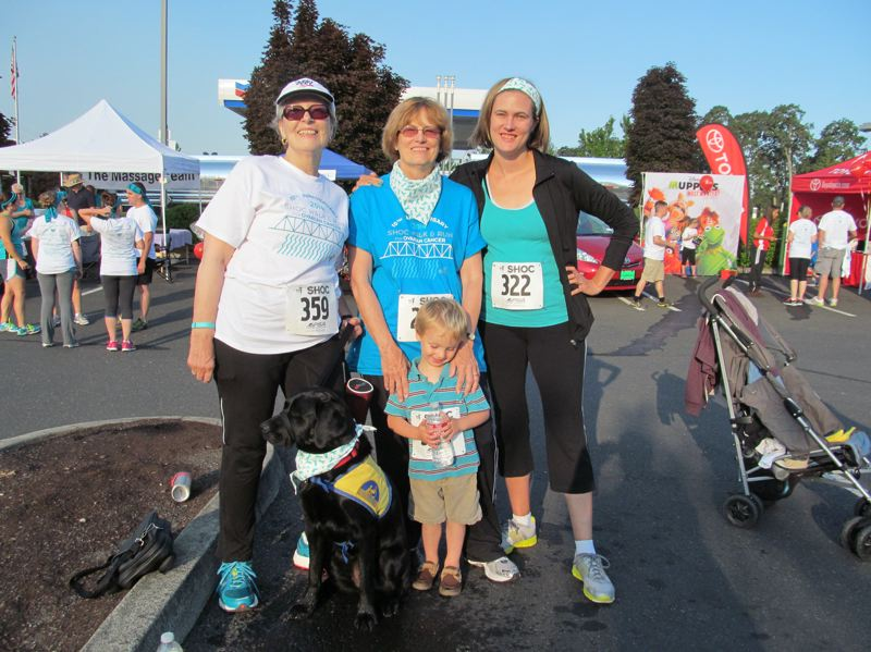 Photo Credit: PHOTO BY DICK TRTEK - Participating in the SHOC walk for the first time were Terri Sasse, left, her sister, Melanie Sadler, an ovarian cancer survivor, Sadlers daughter, Jessica Traffas and her son, Miles Traffas, 2.