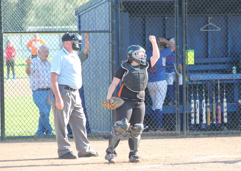 Photo Credit: JIM BESEDA/MOLALLA PIONEER - Molalla's Kenzi Kluken, pictured here in a Tri-Valley Conference game at La Salle Prep last spring, spent the summer playing with the Stealth Fastpitch club team out of Milwaukie.
